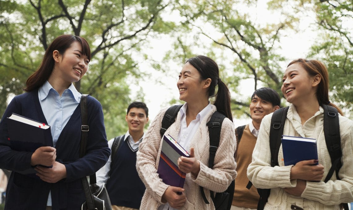 Chinese university students on campus
