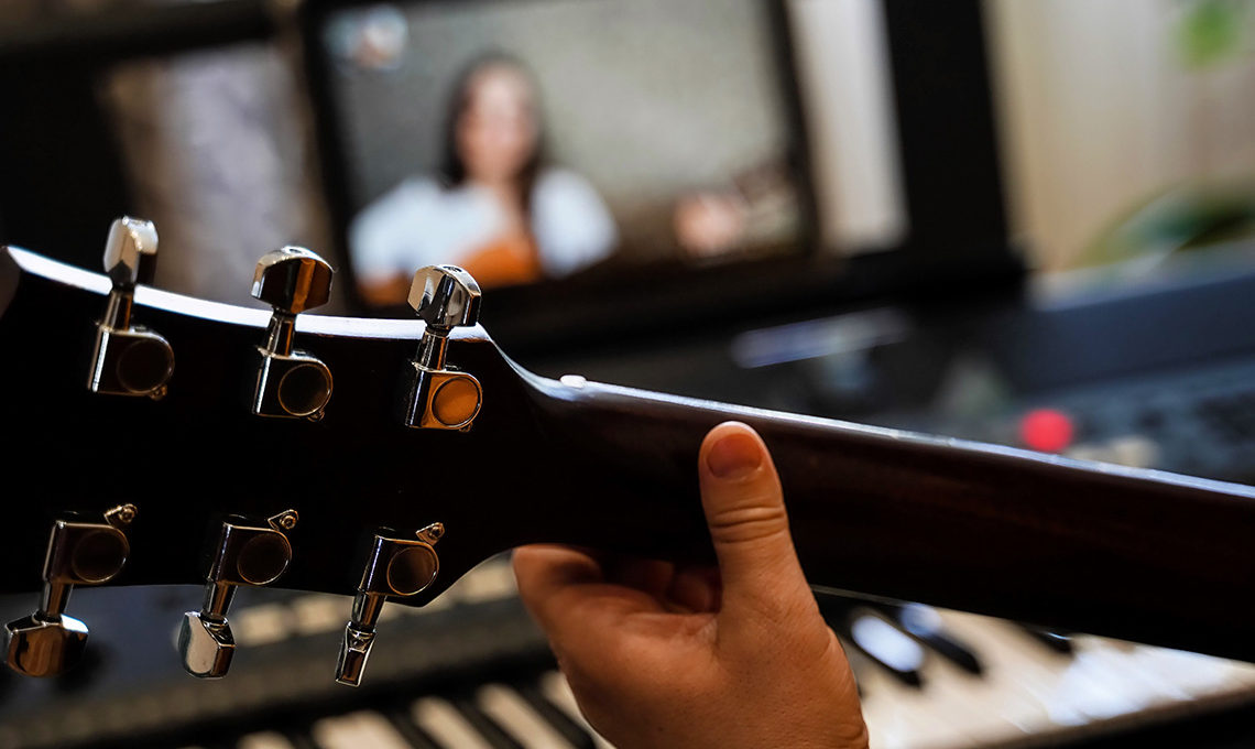 Musicians playing together online